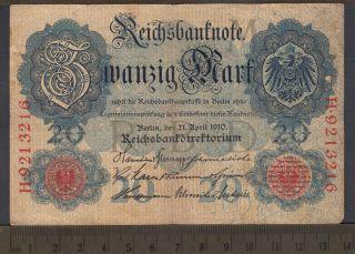 1910 - 20 Mark - Allemagne