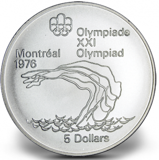 1976 - #18 (1975) - $5 - Sterling Silver Coin, Montreal Summer Olympic Games, Diving
