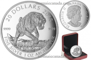 2015 - $10 - 1 oz. Fine Silver - Prehistoric Animals: American Scimitar Sabre-Tooth Cat