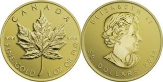 2014 - $50 - 1 oz. Pure Gold Coin - Maple Leaf