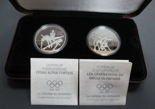1992 Canada $15 Dollars Sterling Silver - Olympic Centennial 2 Coins Set