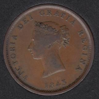 N.B. 1843 Victoria Dei Gracia Regina Penny Token - NB-2A