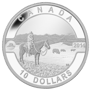 2014 - $10 - 1/2 oz. Fine Silver Coin - O Canada - The Canadian Cowboy