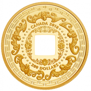 2018 - $200 - 28.25 g Pure Gold Coin - Good Luck Charms: Five Blessings