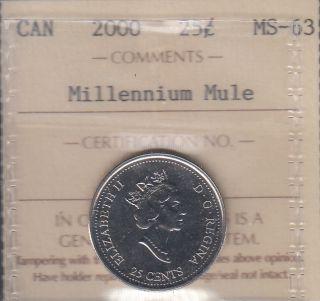 2000 - Millennium Mule - ICCS - MS 63 - Canada 25 Cents - RARE - CALL TO ORDER