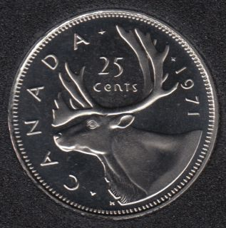 1971 - Proof Like - Heavy Cameo - Canada 25 Cents