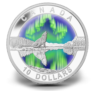 2014 - $10 - 1/2 oz. Fine Silver Coin - O Canada - The Northern Lights