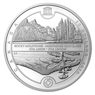 2015 - $20 - 1 oz. Fine Silver Coin - UNESCO at Home and Abroad - Mount Fuji & The Canadian Rockies