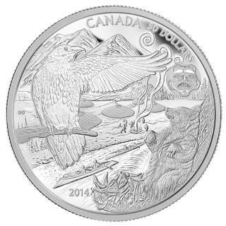 2014 - $50 - 5 oz. Fine Silver Coin - The Legend of the Spirit Bear