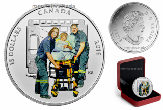 2016 - $15 - Pure Silver Coloured Coin – National Heroes: Paramedics