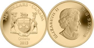 2013 - $300 - 14-Karat Gold Coin - Ontario Coat of Arms