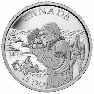 2014 - $15 - Fine Silver Coin - Exploring Canada - The Pioneering Mapmakers