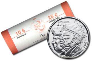 2005 P Canada 25 Cents Veteran - BU ROLL 40 Coins - UNC