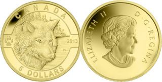 2013 - $5 - 1/10 oz Pure Gold Coin - The Wolf