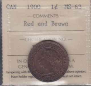1900 - ICCS - MS 63 - Red & Brown - Canada Large Cent