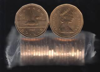 1987 Canada Roll $1 Dollar - Loon - 25 Coins - UNC