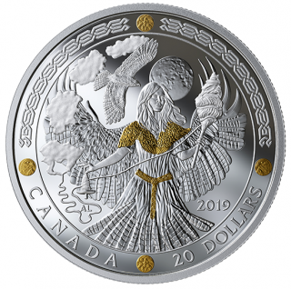 2019 - $20 - 1 oz. Pure Silver Gold-Plated Coin - Norse Gods: Frigg