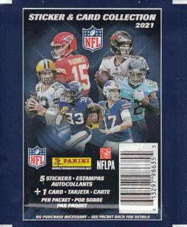 Football NFL - Paquets de 5 Autocollants et 1 Carte 2021 - Panini