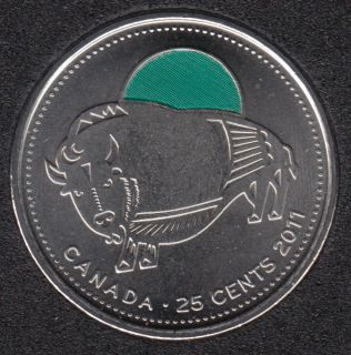 2011 - B.Unc - Bison Col. - Canada 25 Cents