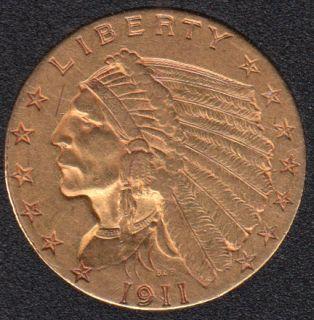 US 1911 Indian Head $2.50 Quarter Eagle Gold Coin