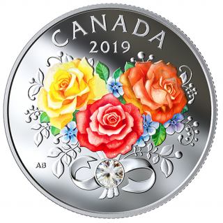 2019 - $3 - Celebration of Love - Pure Silver Coin made with Swarovski® Crystal