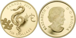 2013 - $150 - 18-karat Gold Coin - Year of the Snake