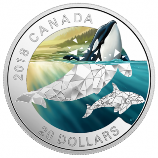 2018 - $20 - 1 oz. Pure Silver Coloured Coin - Geometric Fauna: Orcas
