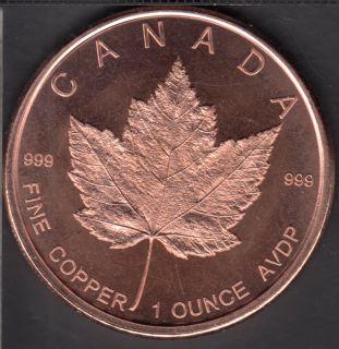 Feuille d'Érable Canada - 1 oz .999 Cuivre Fin