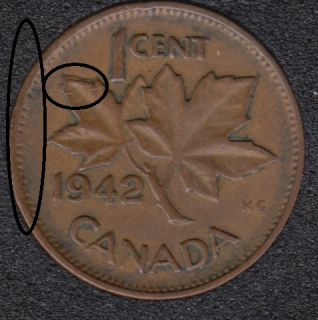 1942 - Xtra Metal on ML - Missing Denticle - Canada Cent