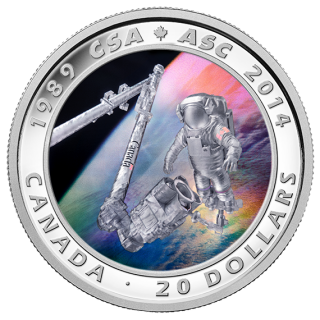 2014 - $20 - 1 oz. Fine Silver Coin - 25th Anniversary of the Canadian Space Agency