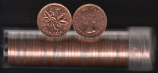 1958 Canada 1 Cent - BU ROLL 50 Coins - UNC - in Plastic Tube