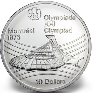1976 - #25 - $10 - Pièce en argent sterling, Jeux olympiques d'été à Montréal, Le stade olympique