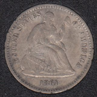 1861 - Liberty Seated - VF - Half Dime