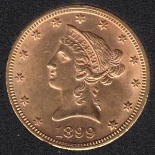US 1899 Liberty Head $10 Dollars Eagle Gold Coin