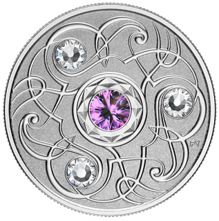 2020 - $5 - February Birthstone - Pure Silver Coin made with Swarovski® Crystals