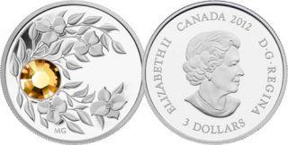 2012 - $3 - November Birthstone (Topaz) - Fine Silver Coin