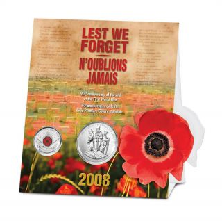 2008 2-Coin Set 90th Anniversary of The End of WWI with Poppy 25 Cents