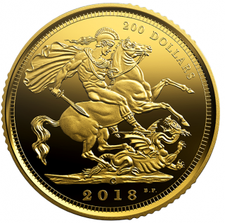 2018 - $200 - 99.999% 1 oz. Pure Gold Coin - The 1908 Sovereign: 110th Anniversary of the Royal Canadian Mint