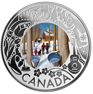 2019 - $3 - Pure Silver Coloured Coin - Maple Syrup Tasting: Celebrating Canadian Fun and Festivities
