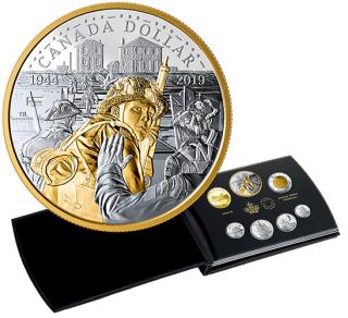 2019 - Ensemble épreuve numismatique de sept pièces en argent pur – 75e anniversaire du jour J