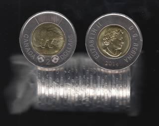 2014 Canada $2 Dollars - Polar Bear - BU Roll 25 Coins - UNC