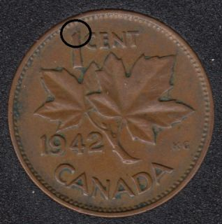 1942 - Dot on 1 - Canada Cent