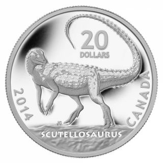 2014 - $20 - 1 oz. Fine Silver Coin - Canadian Dinosaurs: Scutellosaurus