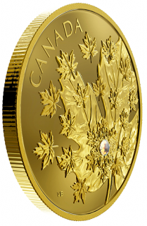 2018 - $250 - Pure Gold Coin with 0.10 ct Canadian Diamond - The Magnificent Maple
