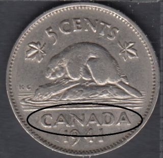 1941 - Double CANADA - Canada 5 Cents