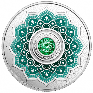 2015 - $5 - May Birthstone - Pure Silver Coin made with Swarovski® Crystals