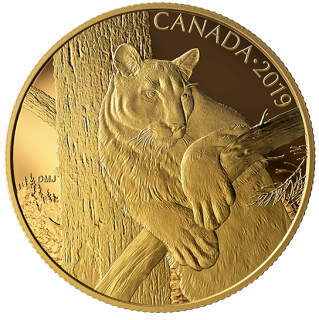 2019 - $350 - 99.999% Pure Gold Coin - Canadian Wildlife Portraits: The Cougar