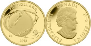 2013 - $75 - 1/4 oz Fine Gold Coin - Hardball