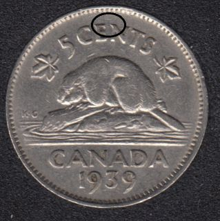 1939 - Die Break EN Attached - Canada 5 Cents