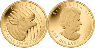 2014 - $200 - 1 oz. Pure Gold Coin - Howling Wolf